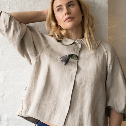 Find authentic preowned Lanvin Ecru Linen Cropped Jacket, size 40 (French) at BunnyJack, where a portion of every sale goes to charity.