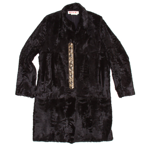 Marni Black Persian Lamb Coat, Size 40 (Italian)
