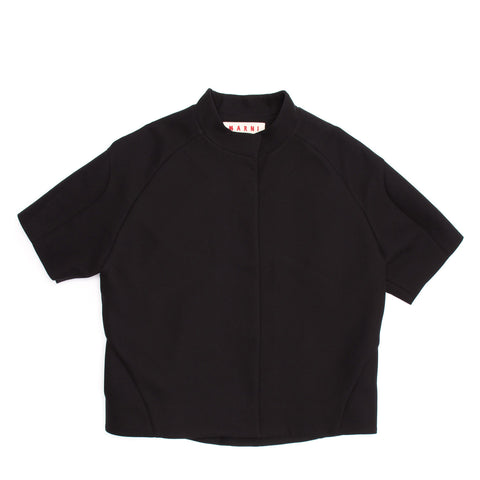 Marni Black Cropped Cotton Jacket, Size 44 (Italian)