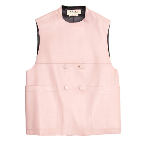 Marni Pink & Black Leather Vest, Size 46 (Italian)