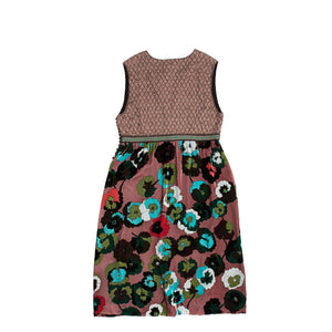 Multicolor Floral Velvet & Beaded Dress