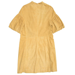 Golden Suede Ruffled Front Coat