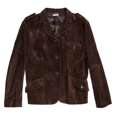 Miu Miu Brown Suede Cropped Jacket