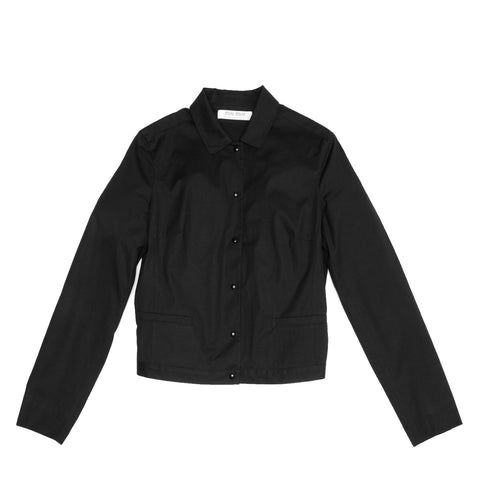 Black Cotton Snap Jacket
