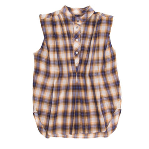 Marc Jacobs Gold & Blue Plaid Cotton Shirt