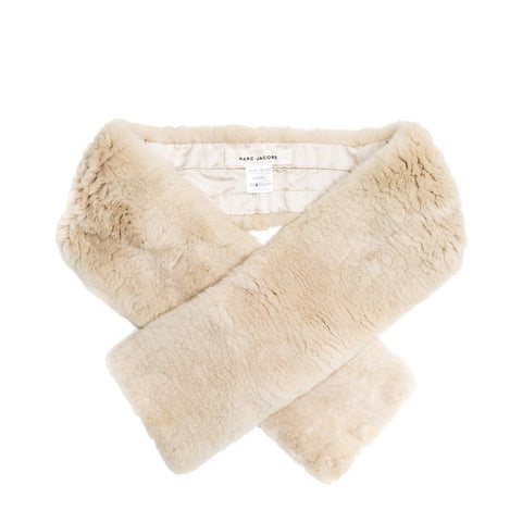 Marc Jacobs Beige Shearling Fur Scarf
