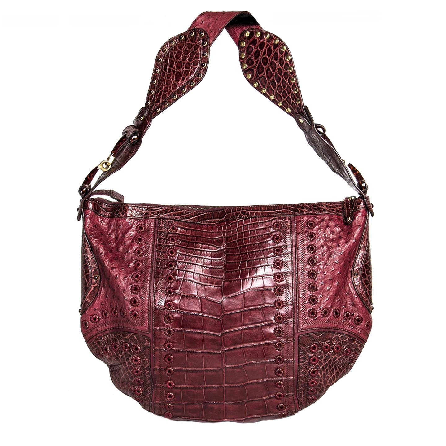 Find an authentic preowned Gucci Burgundy Crocodile & Lizard Large Bag at BunnyJack, where a portion of every sale goes to charity.