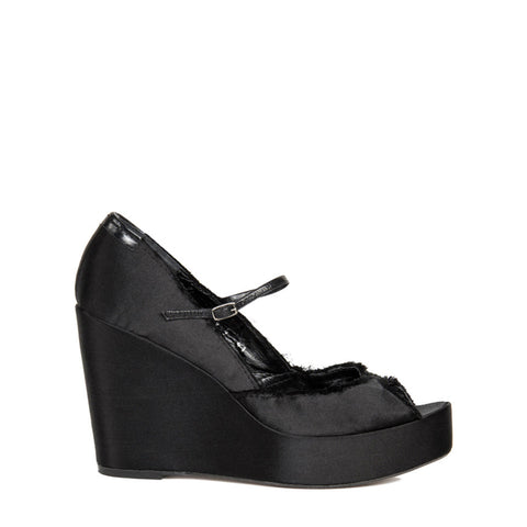 Pedro Garcia Black Satin Peep Toe Wedges