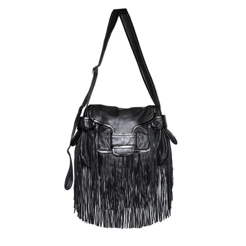 Black Leather Fringes Bag