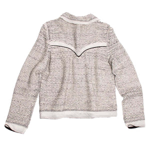Find an authentic preowned Prada Ivory & Grey Western Cardigan, size 46 (Italian) at BunnyJack, where up to 50% of each sale price is donated to charity.