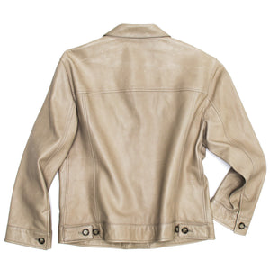 Find an authentic preowned Prada Taupe Leather Trucker Jacket size 44 (Italian) at BunnyJack, where up to 50% of each sale price is donated to charity.