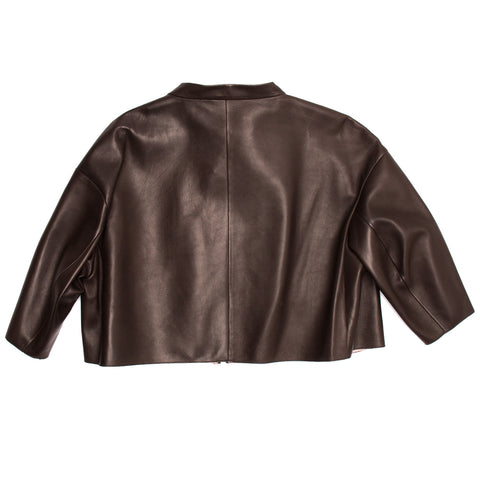 Find an authentic preowned Prada Brown & Pink Lambskin Jacket, size 46 (Italian) at BunnyJack, where up to 50% of each sale price is donated to charity.