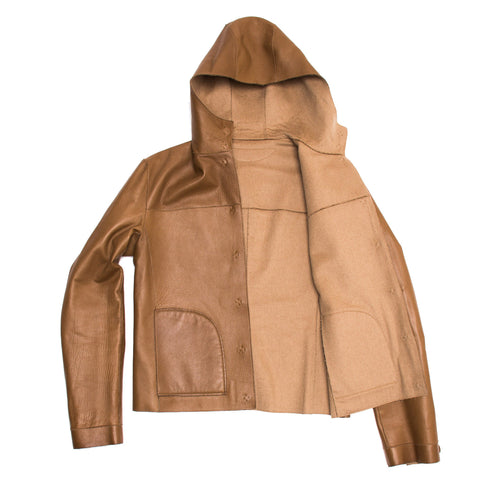 Find an authentic preowned Prada Camel & Leather Reversible Jacket size 44 (Italian) at BunnyJack, where up to 50% of each sale price is donated to charity.