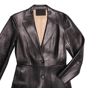 Find an authentic preowned Prada Black Leather 2 Buttons Coat size 44 (Italian) at BunnyJack, where up to 50% of each sale price is donated to charity.