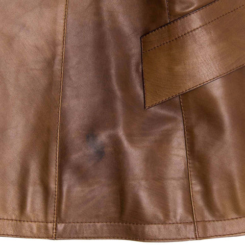Find an authentic preowned Prada Brown Semi-Distressed Leather Blazer, size 44 (Italian) at BunnyJack, where up to 50% of each sale price is donated to charity.