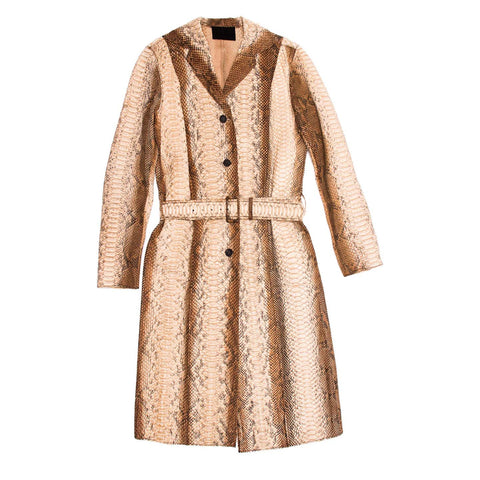 Find an authentic preowned Prada Python Trench Style Coat, size 42 (Italian) at BunnyJack, where up to 50% of each sale price is donated to charity.