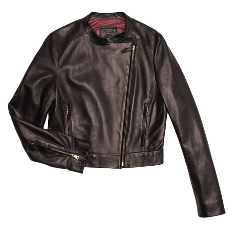 Find an authentic preowned Prada Black Nappa Moto Jacket size 46 (Italian) at BunnyJack, where up to 50% of each sale price is donated to charity.