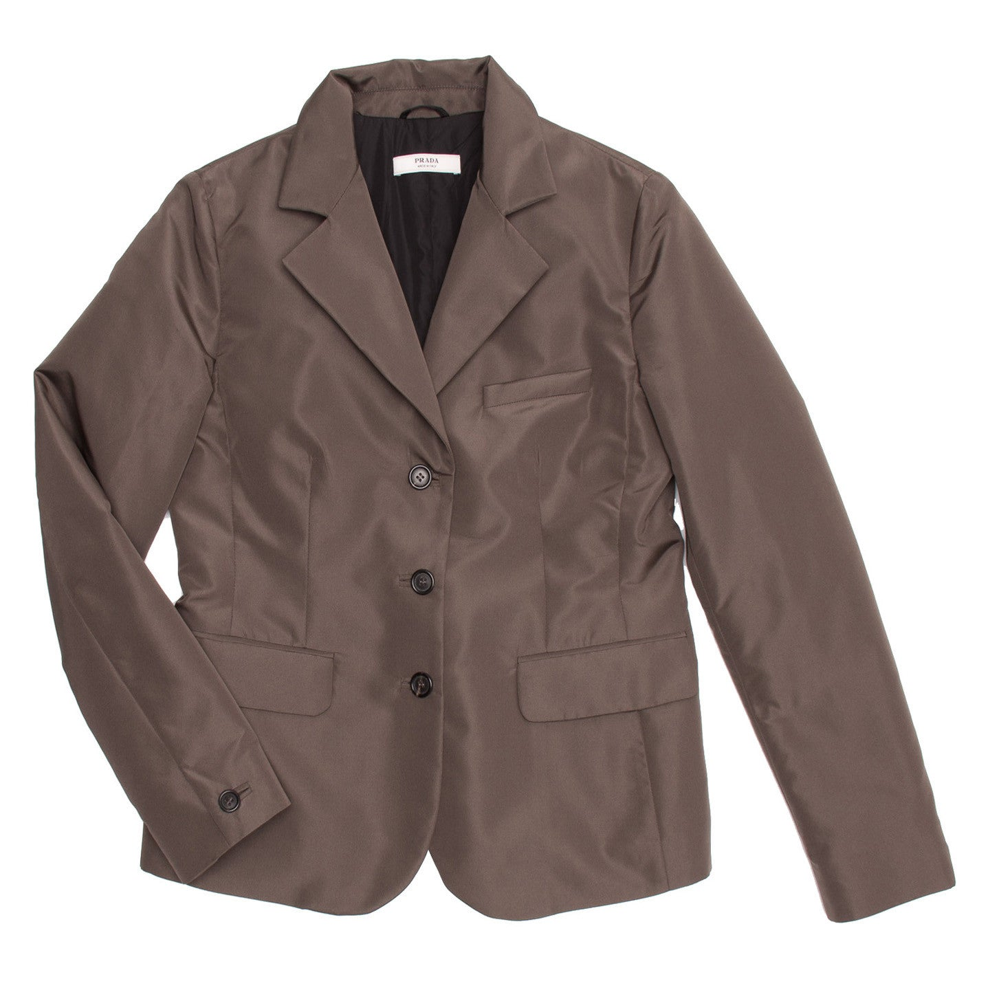 Find an authentic preowned Prada Olive Khaki Poly Satin Blazer size 46 (Italian) at BunnyJack, where up to 50% of each sale price is donated to charity.