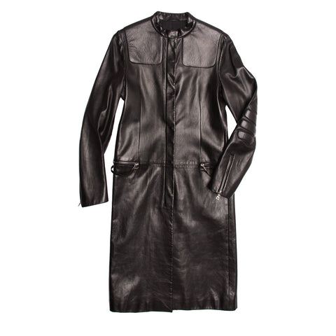 Find an authentic preowned Prada Black Leather Racer Coat size 44 (Italian) at BunnyJack, where up to 50% of each sale price is donated to charity.