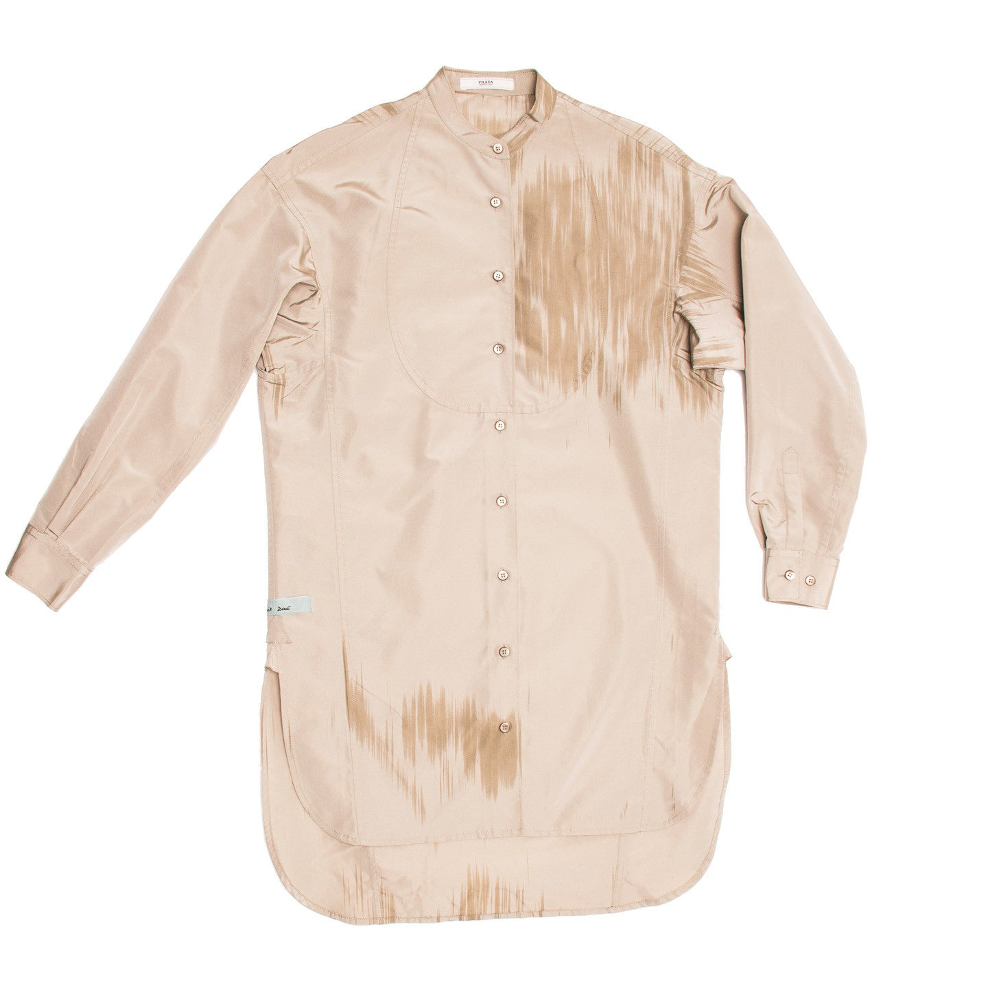 Find an authentic preowned Prada Taupe & Paint Brush Detail Tunic size 46 (Italian) at BunnyJack, where up to 50% of each sale price is donated to charity.