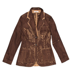 Find an authentic preowned Prada Brown & Tan Screen Print Blazer, size 44 (Italian) at BunnyJack, where up to 50% of each sale price is donated to charity.