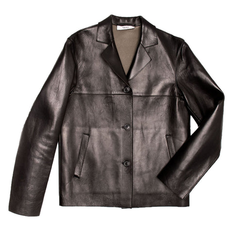 Find an authentic preowned Prada Black & Olive Leather Jacket, size 40 (Italian) at BunnyJack, where up to 50% of each sale price is donated to charity.