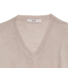 Taupe Fitted V-Neck Pullover