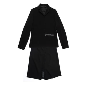 Find an authentic preowned Prada Black Wool Skirted Suit size 46 (Italian) at BunnyJack, where up to 50% of each sale price is donated to charity.