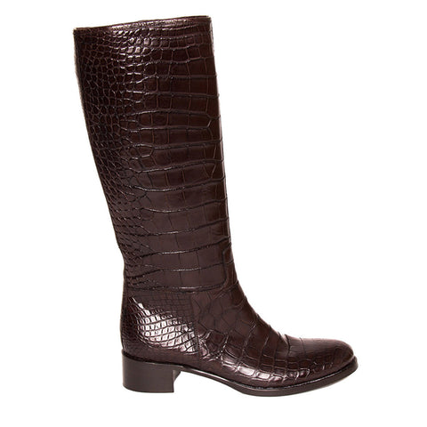 Prada Brown Knee High Crocodile Boots, size 40 (Italian)