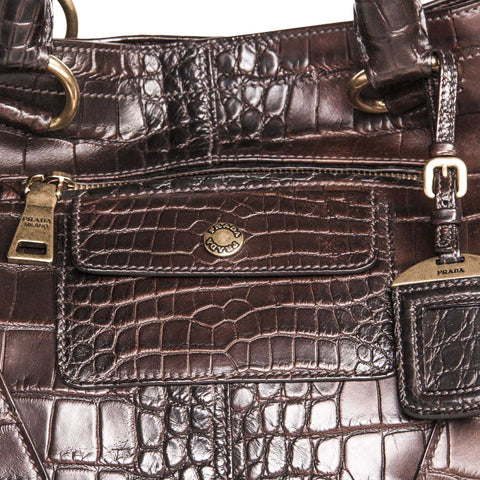 1b2bcaf24503 Find an authentic preowned Prada Burgundy Crocodile Oversized Bag at  BunnyJack
