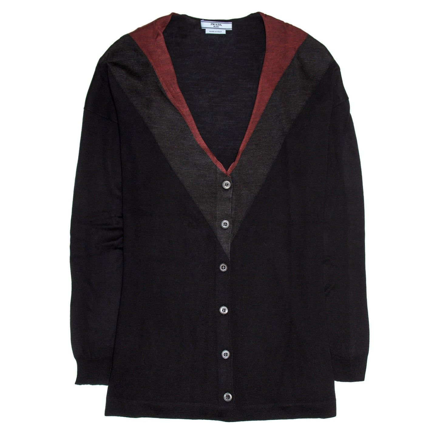 Find an authentic preowned Prada Midnight Blue Red & Grey Cardigan size 44 (Italian) at BunnyJack, where up to 50% of each sale price is donated to charity.