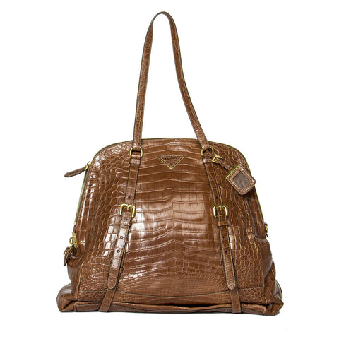 Prada Brown Crocodile Expandable Bag
