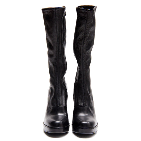 Find an authentic preowned Prada Black Leather High Boots size 40.5 (Italian) at BunnyJack, where up to 50% of each sale price is donated to charity.