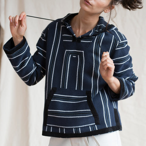 Find an authentic preowned Proenza Schouler Blue Striped Hooded Sweater, size 6 (US) at BunnyJack.