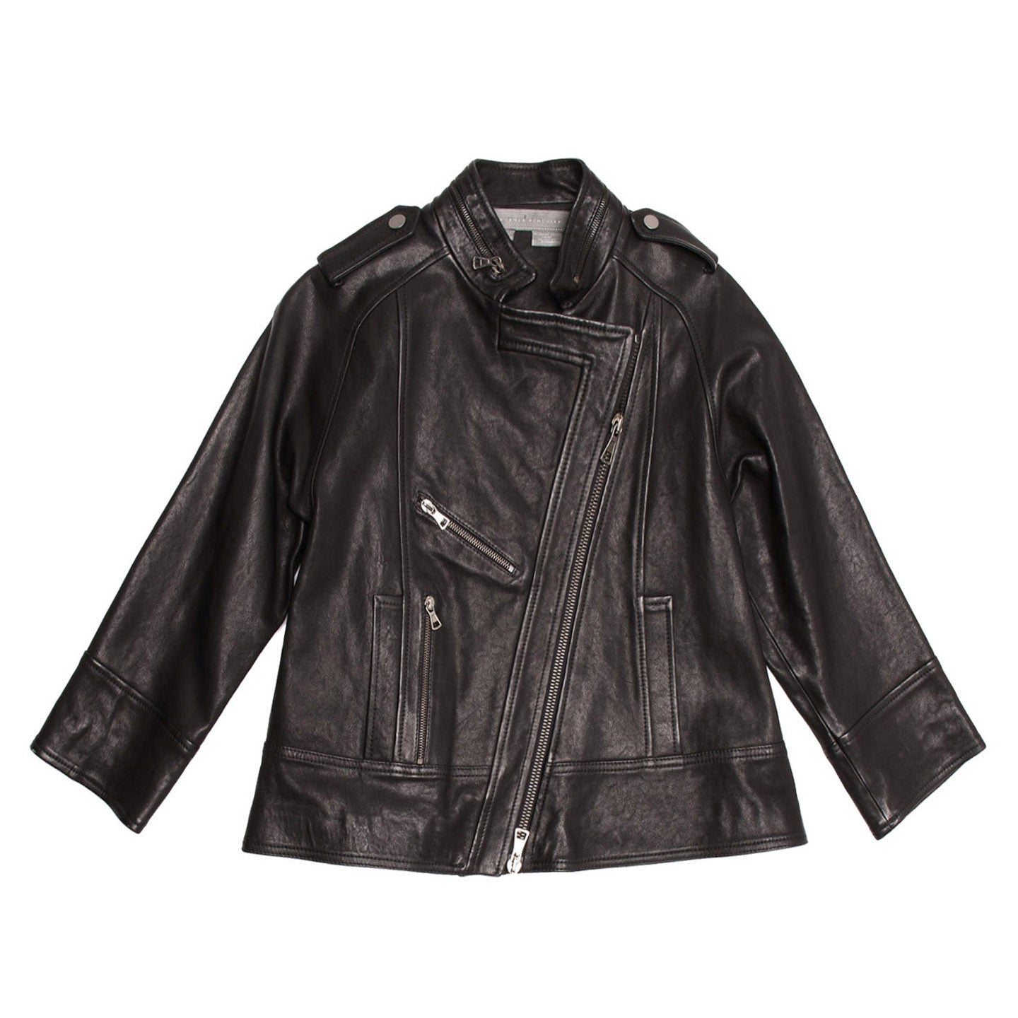 Black Leather A-line Moto Jacket