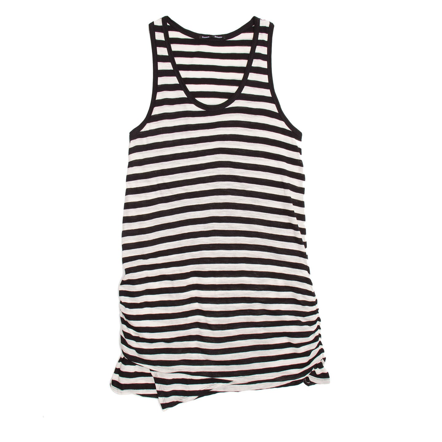 Find an authentic preowned Proenza Schouler Black & Ivory Striped Tank Dress, size L at BunnyJack.