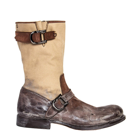 Brown & Beige Moto Style Boots