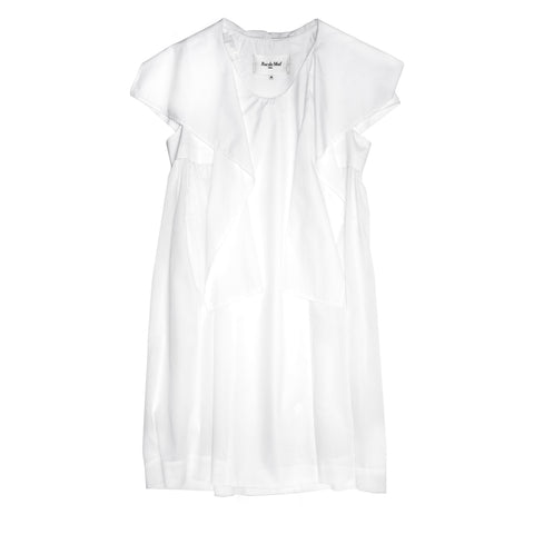 White Cotton Drape Detail Dress