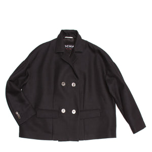 Rochas Black Double Breasted Cropped Jacket