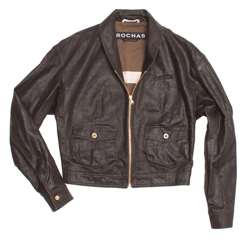 Rochas Dark Brown Waxed Cotton Bomber