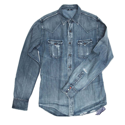 Blue Denim Shirt For Man