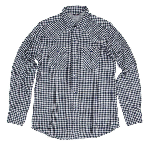 Blue & Grey Checked Shirt For Man