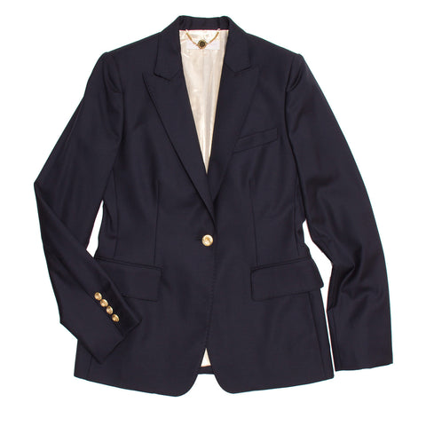 Stella McCartney Navy Wool Blazer Gold Buttons, size 46 (Italian)