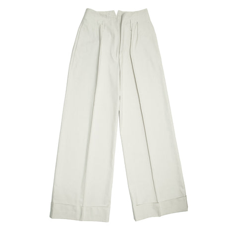 Stella McCartney Ecru Cotton Wide Pants, size 44 (Italian)
