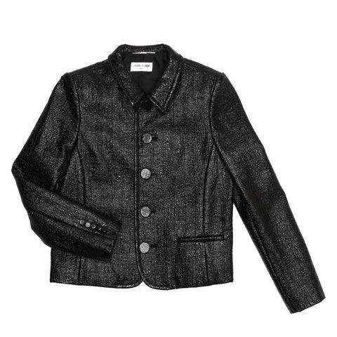 YSL Black Patent Texture Jacket, Size 44 (French)
