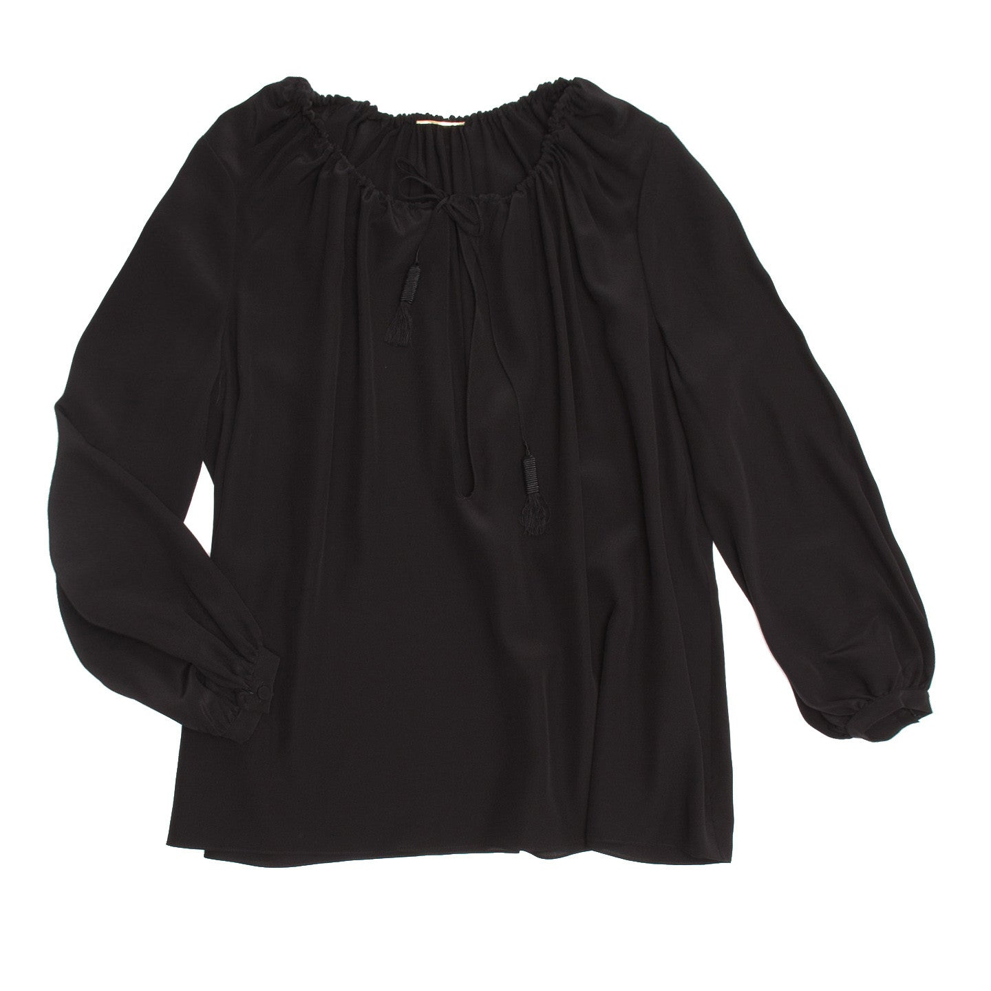 YSL Black Silk Peasant Style Top, Size 44 (French)