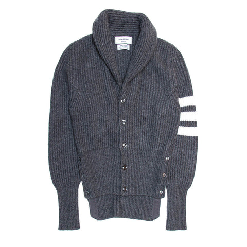 Find an authentic preowned Thom Browne Grey Cashmere Shawl Collar Cardigan size S at BunnyJack, where a portion of every sale goes to charity.