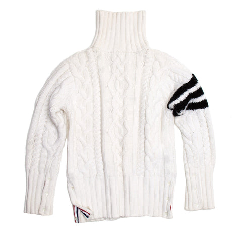 Thom Browne Ivory Cashmere Roll Neck Cardigan, size M