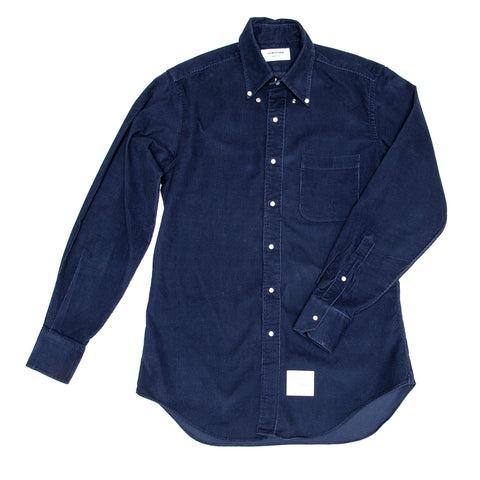 Thom Browne Denim Blue Corduroy Shirt For Man, size 4