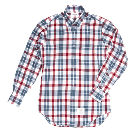 Thom Browne Blue White Red Plaid Shirt For Man, size 4